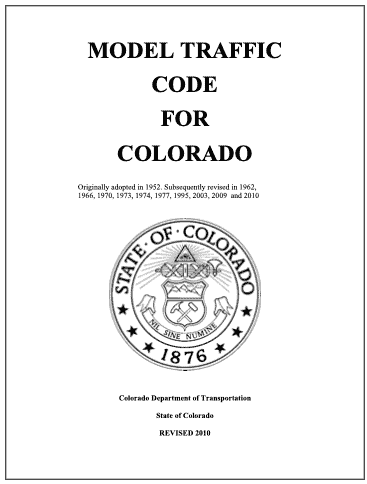 Colorado Model Traffic Code 2010